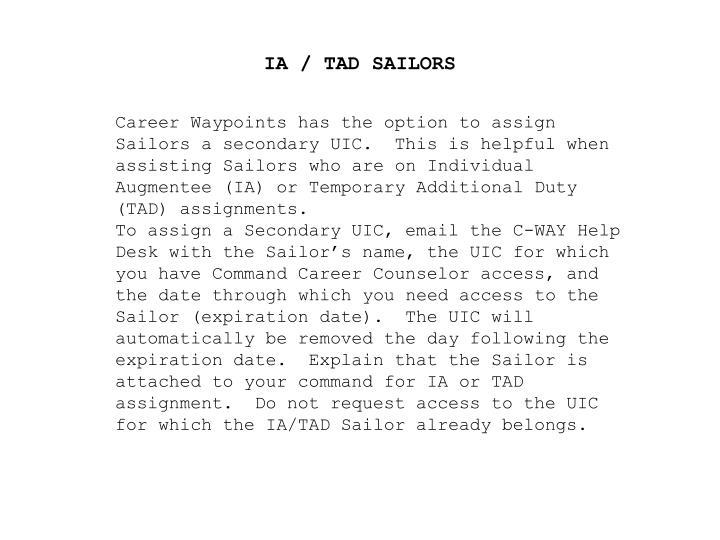 IA / TAD SAILORS