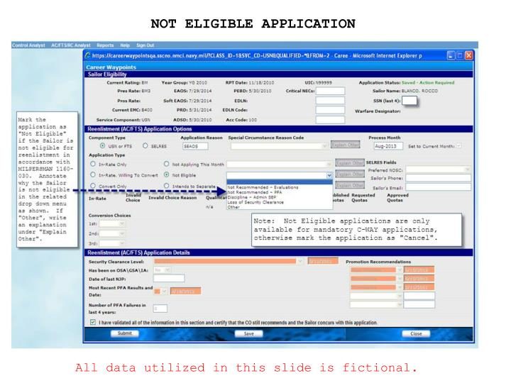 NOT ELIGIBLE APPLICATION