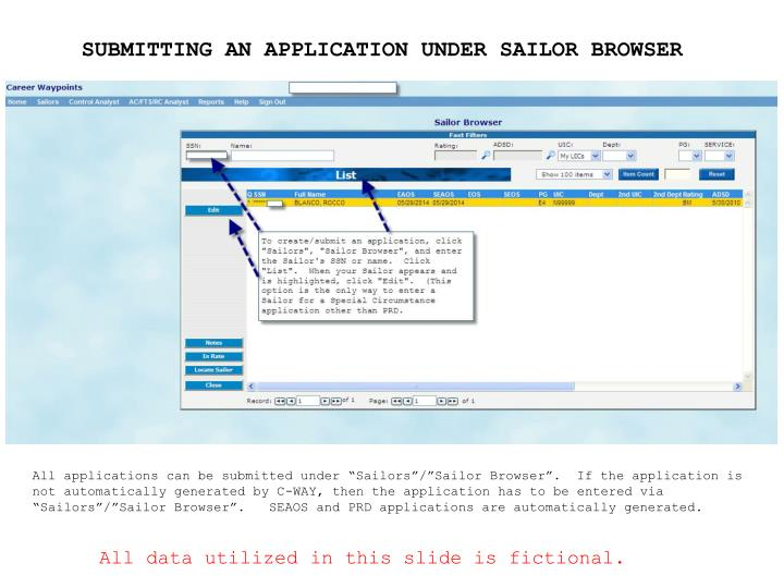 SUBMITTING AN APPLICATION UNDER SAILOR BROWSER