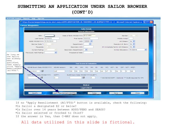 SUBMITTING AN APPLICATION UNDER SAILOR BROWSER (CONT'D)