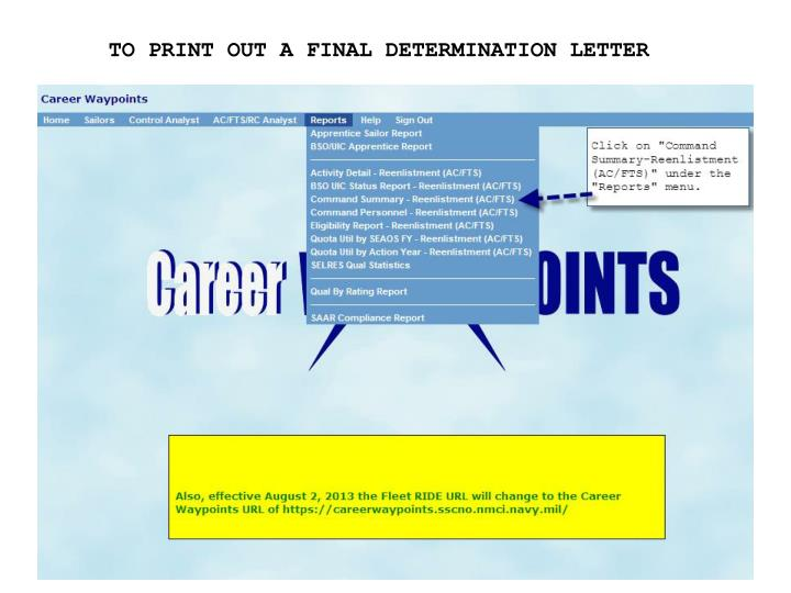 TO PRINT OUT A FINAL DETERMINATION LETTER