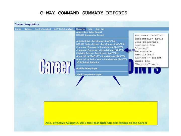 C-WAY COMMAND SUMMARY REPORTS