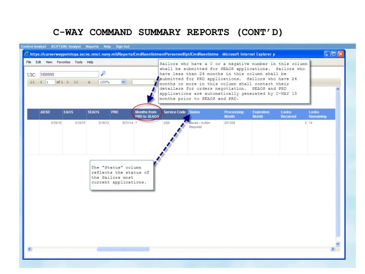 C-WAY COMMAND SUMMARY REPORTS (CONT'D)