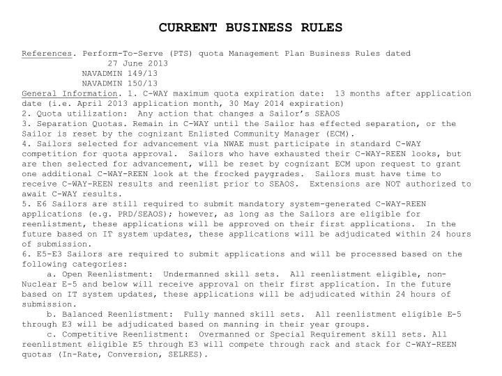 CURRENT BUSINESS RULES