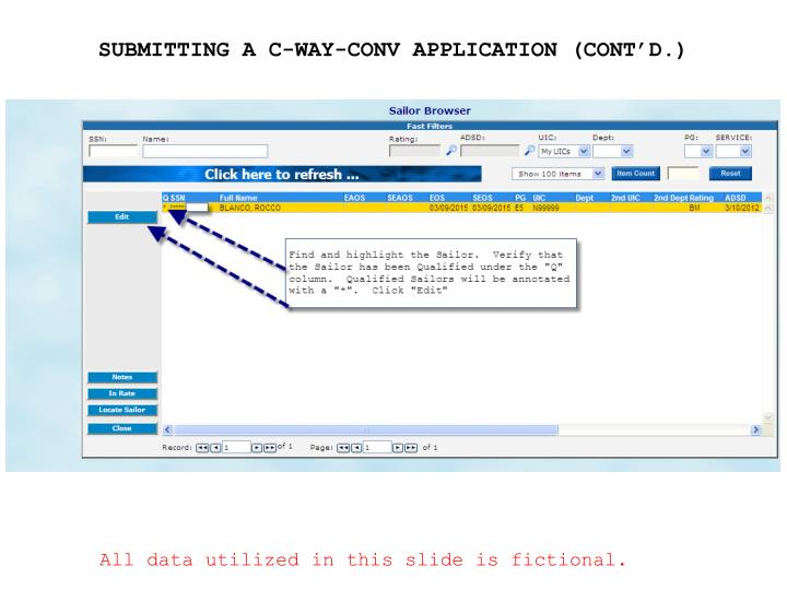 SUBMITTING A C-WAY-CONV APPLICATION (CONT'D.)