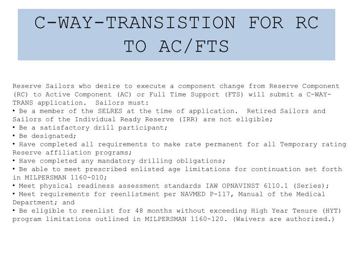 C-WAY-TRANSISTION FOR RC TO AC/FTS