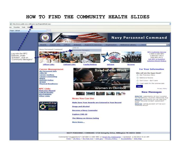 HOW TO FIND THE COMMUNITY HEALTH SLIDES