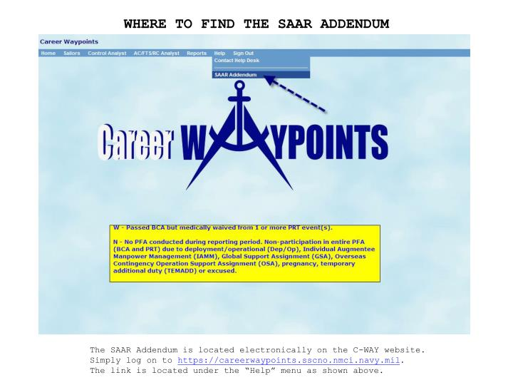 WHERE TO FIND THE SAAR ADDENDUM