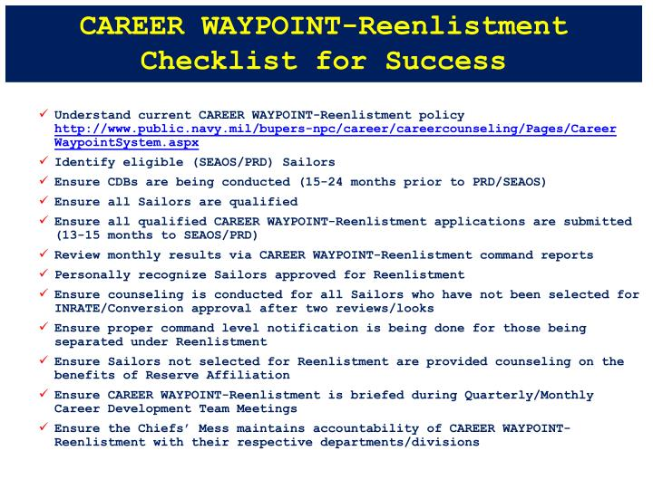 CAREER WAYPOINT-Reenlistment Checklist for Success