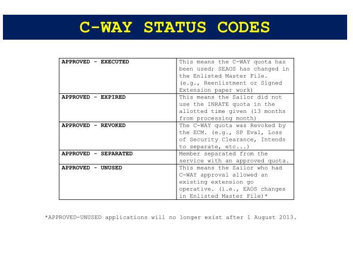 C-WAY STATUS CODES
