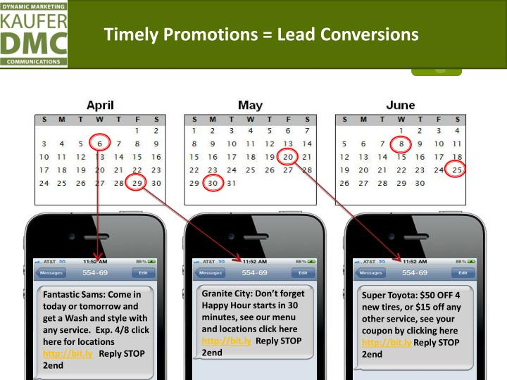 Timely Promotions =