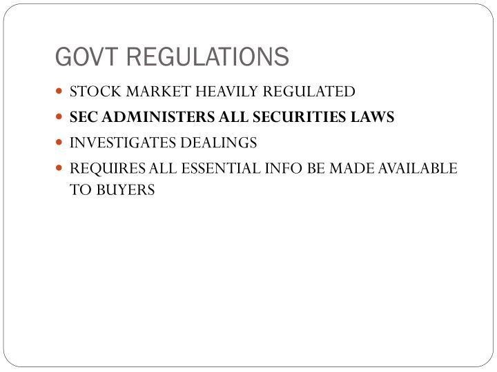 GOVT REGULATIONS