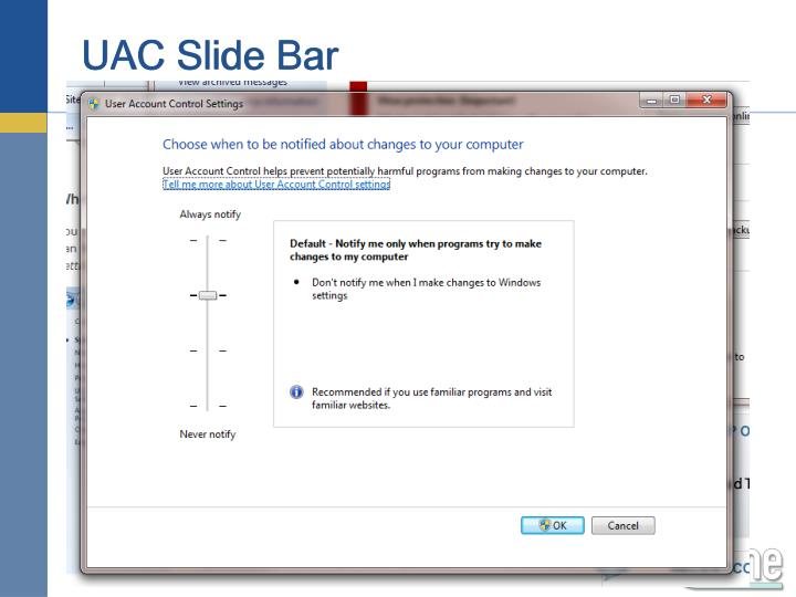 UAC Slide Bar