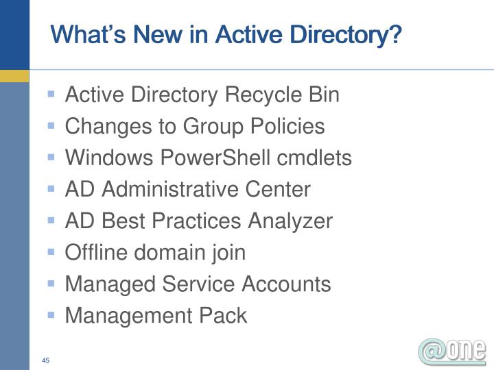 What's New in Active Directory?