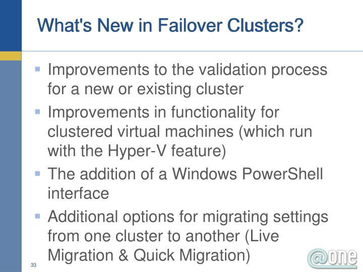 What's New in Failover