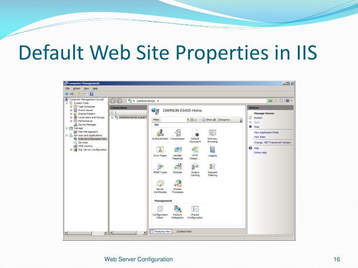 Default Web Site Properties in IIS