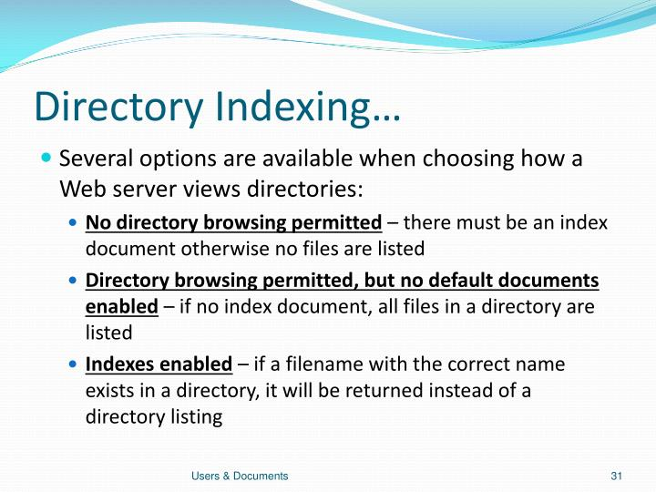 Directory Indexing…