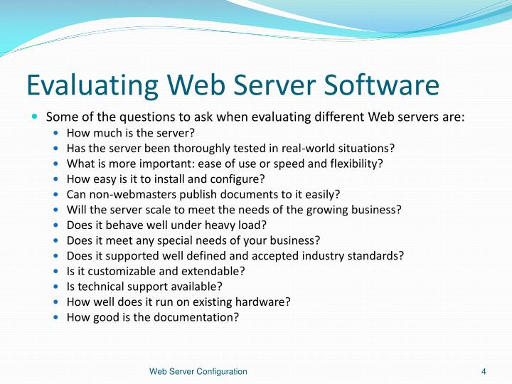 Evaluating Web Server Software