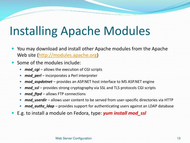 Installing Apache Modules