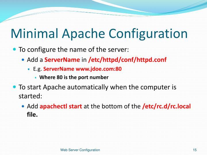 Minimal Apache Configuration