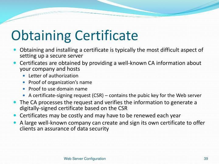 Obtaining Certificate