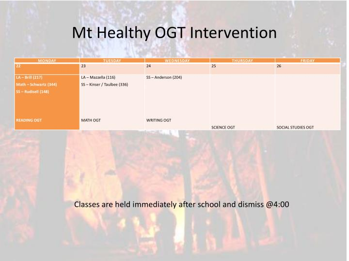 Mt Healthy OGT Intervention