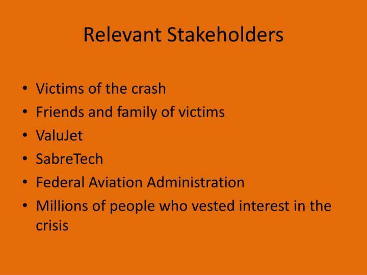 Relevant Stakeholders