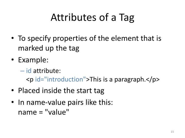 Attributes of a Tag