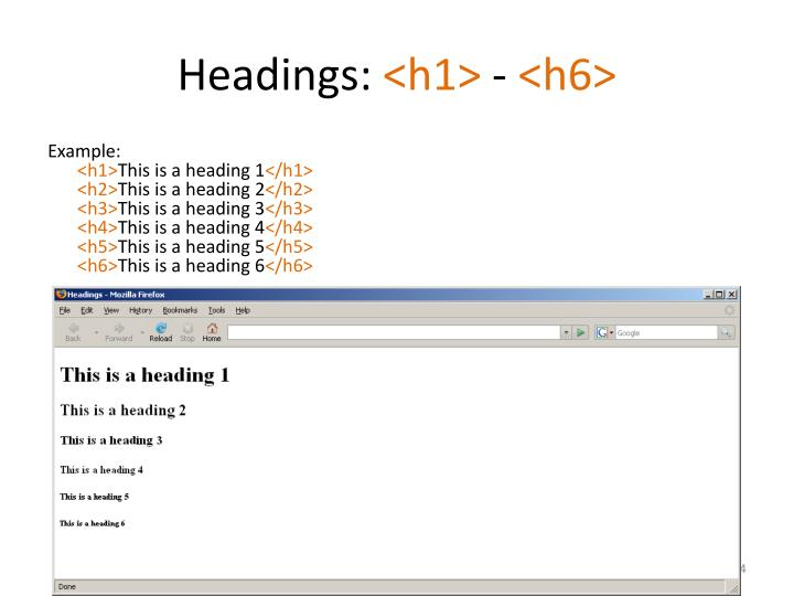 Headings: