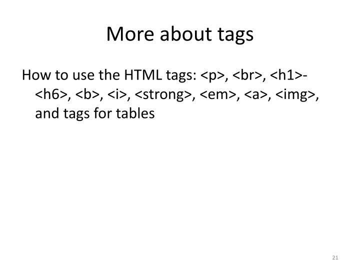 More about tags