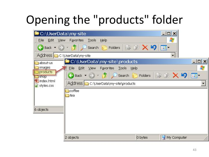 "Opening the ""products"" folder"