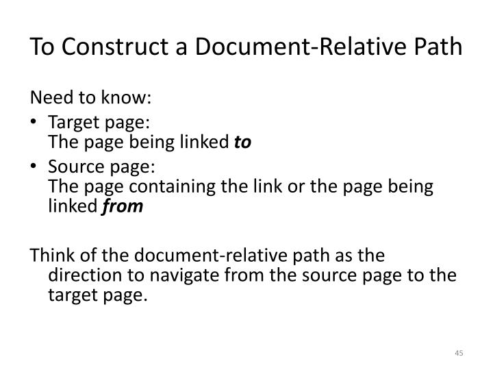 To Construct a Document-Relative Path