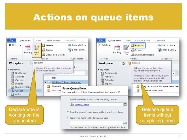 Actions on queue items