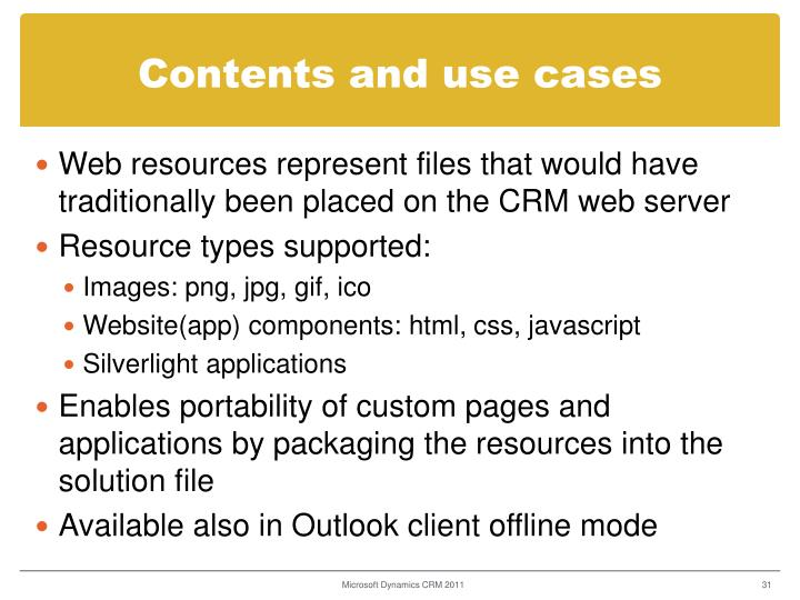 Contents and use cases