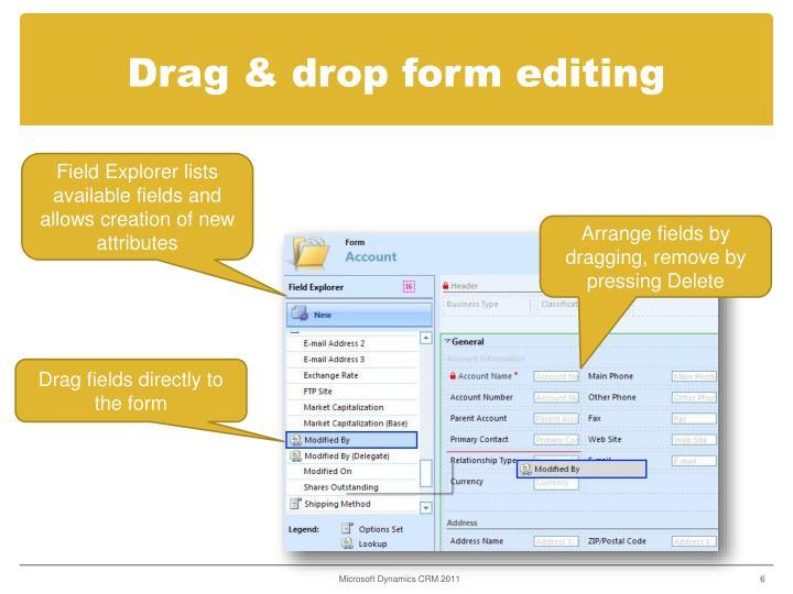 Drag & drop form editing