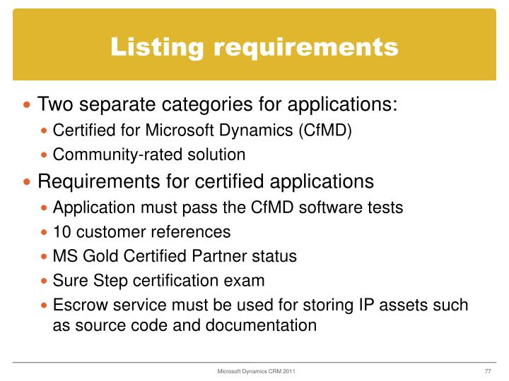 Listing requirements