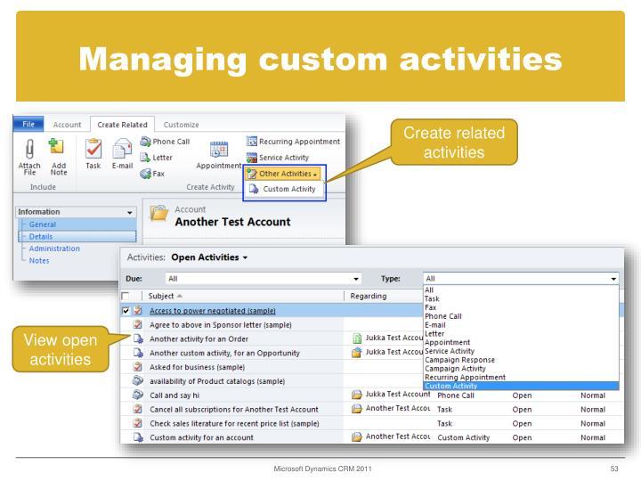Managing custom activities