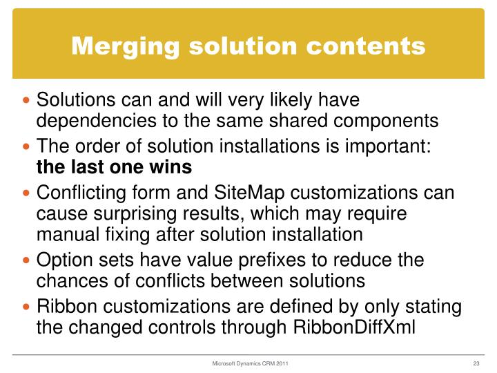 Merging solution contents