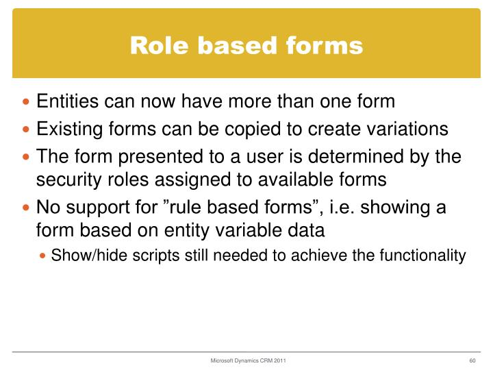 Role based forms