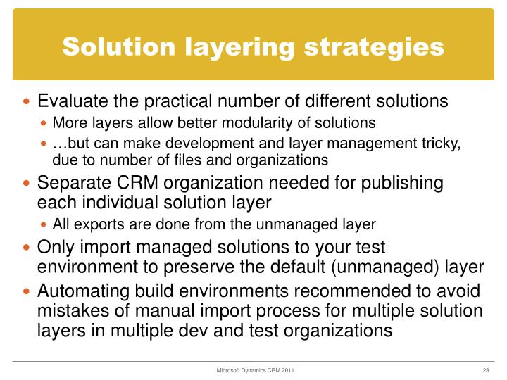 Solution layering strategies