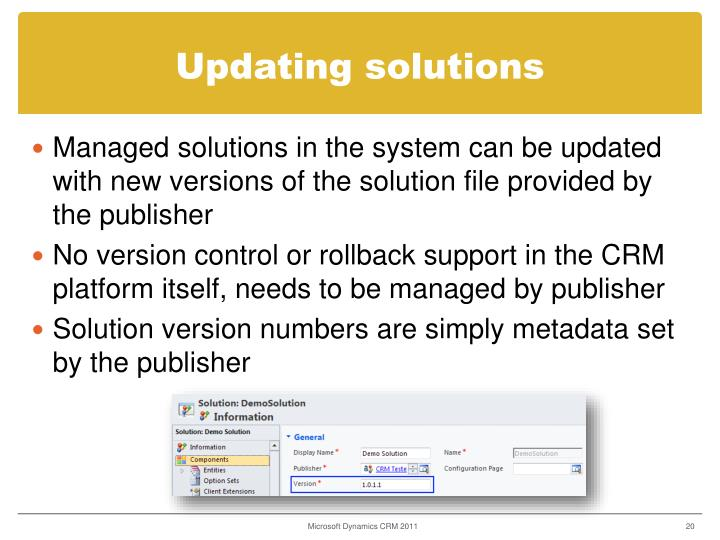 Updating solutions