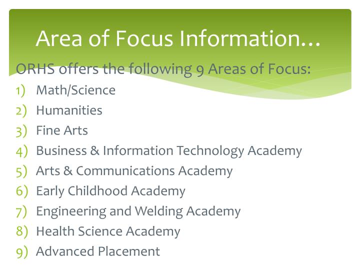 Area of Focus Information…