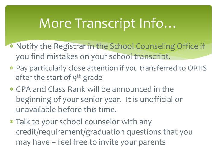 More Transcript Info…