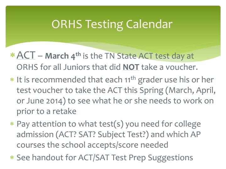 ORHS Testing Calendar