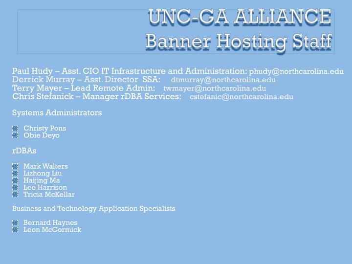 Unc ga alliance banner hosting staff