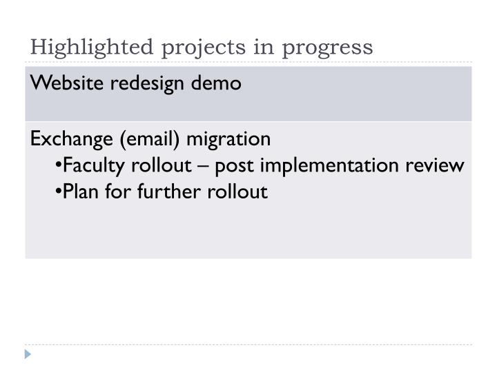 Highlighted projects in progress
