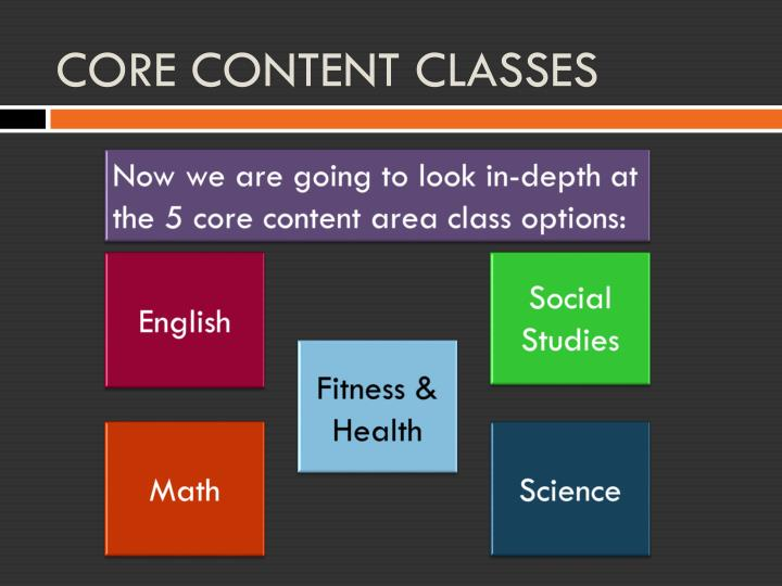 CORE CONTENT CLASSES