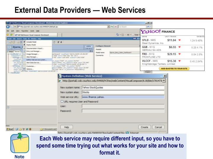External Data Providers — Web Services