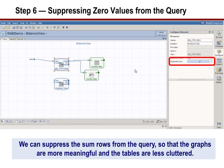 Step 6 — Suppressing Zero Values from the Query