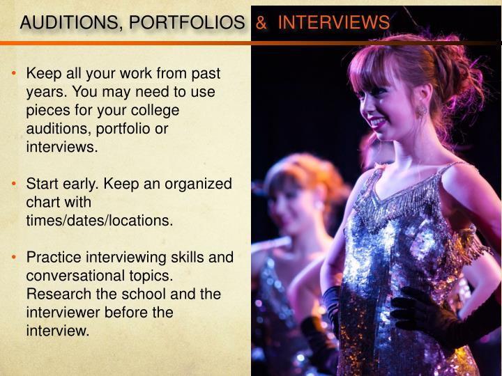 AUDITIONS, PORTFOLIOS